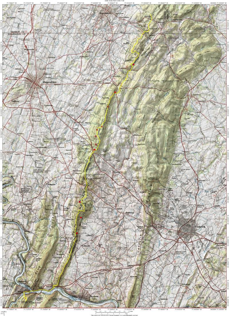 Running The Maryland Appalachian Trail - Appalachian trail topo map